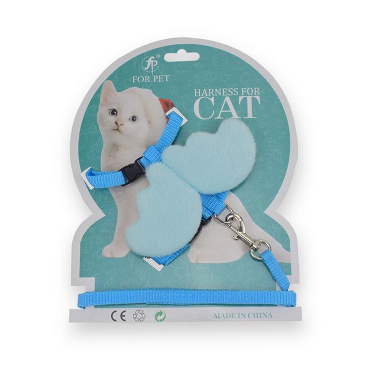 FP Vật nuôi Pei mới với đôi cánh thiên thần dây xích kẹo màu dễ thương đôi cánh nhỏ dây chó kéo mèo