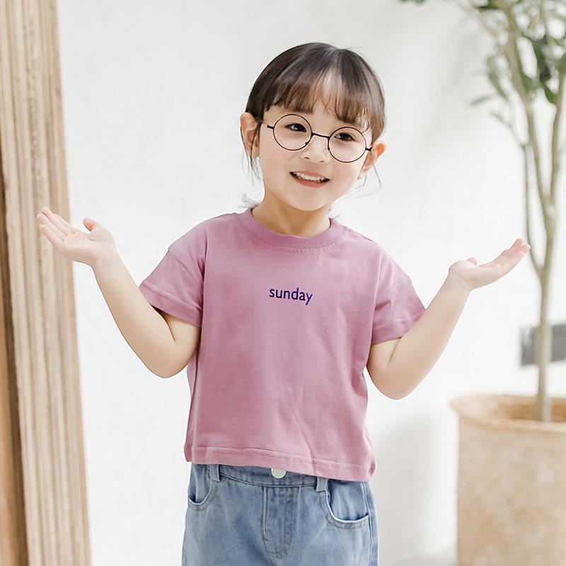 ZIXIAOHE Phong cách Hàn Quốc Quần áo trẻ em nữ mùa hè 2019 mới cho bé cổ tròn cotton đáy quần mùa hè