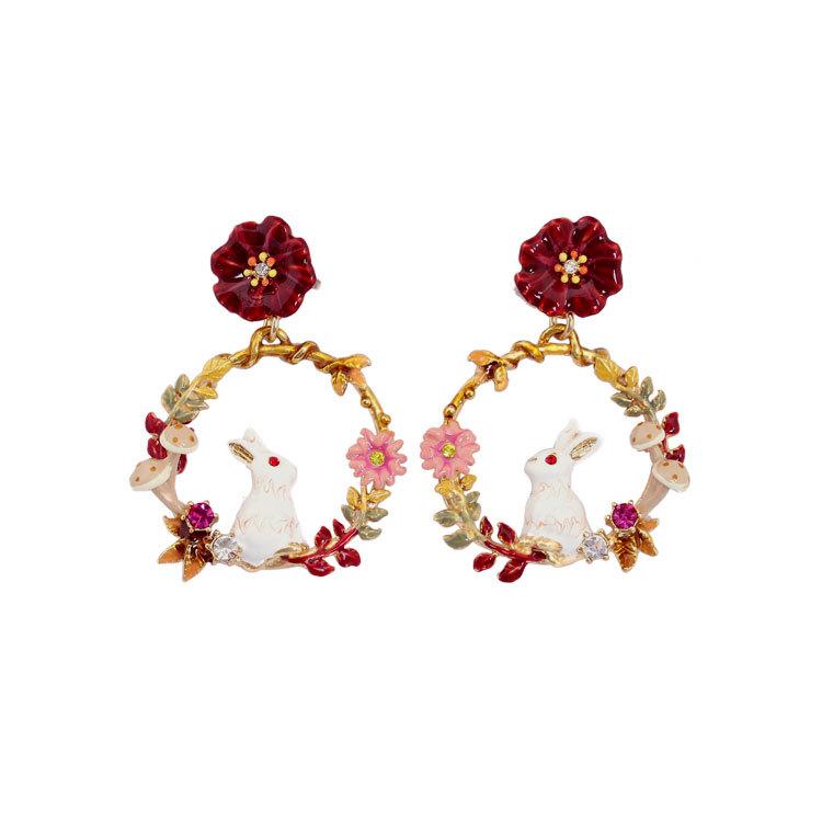 Phụ kiện thời trang Hoa tai mới Alice series men trắng thỏ cosmos bông tai bông tai bạc 925 phụ nữ