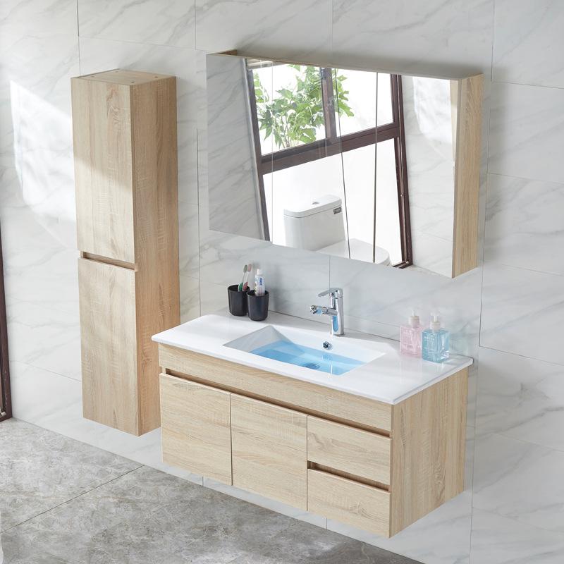 Bộ Tủ lưu trữ và tủ gương treo nhà tắm thiết kế đơn giản .