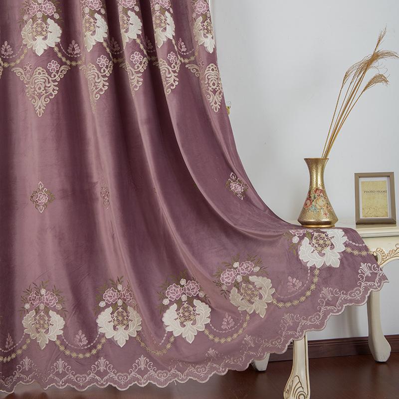 WANJIA rèm cửa sổ Nhà máy bán hàng trực tiếp Mới châu Âu rèm thêu hòa tan nước Phòng khách phòng ngủ