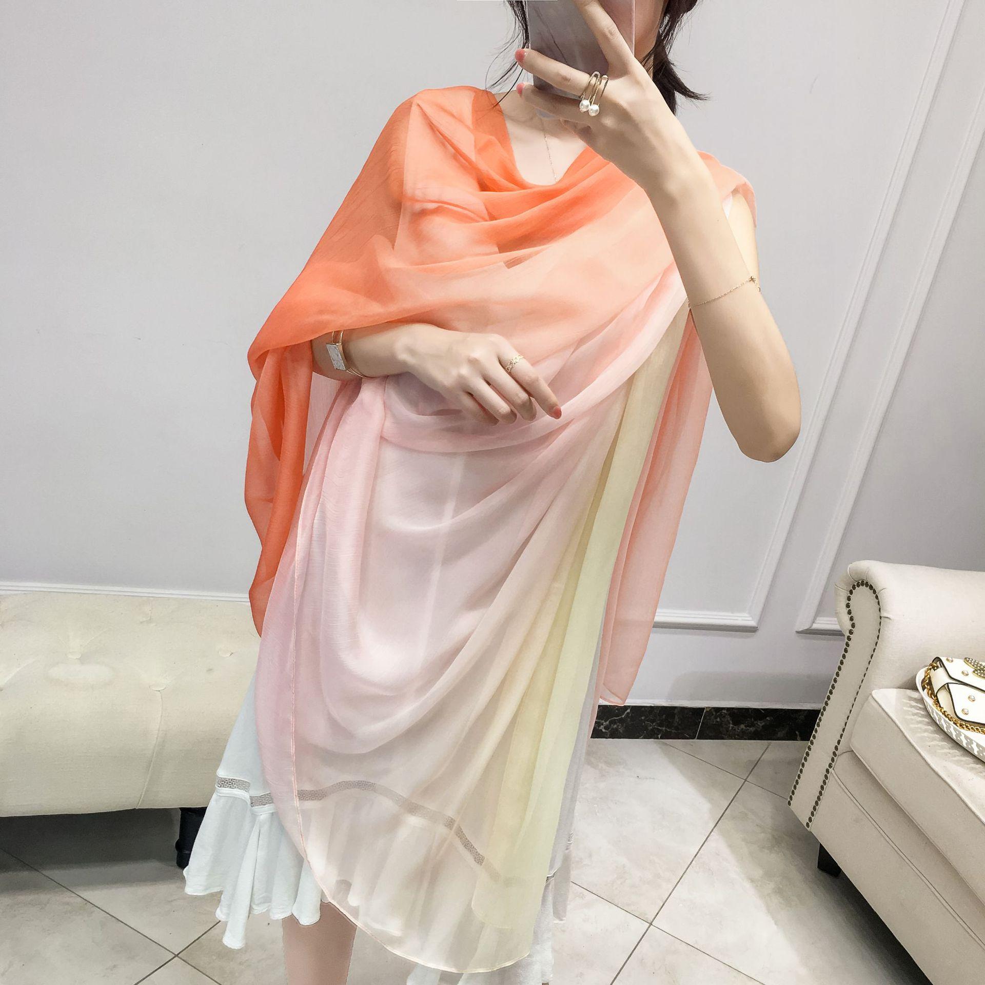 Kosneo Khăn biến màu Khăn quàng cổ phiên bản Hàn Quốc của mùa xuân dài hoang dã khăn quàng dài màu b