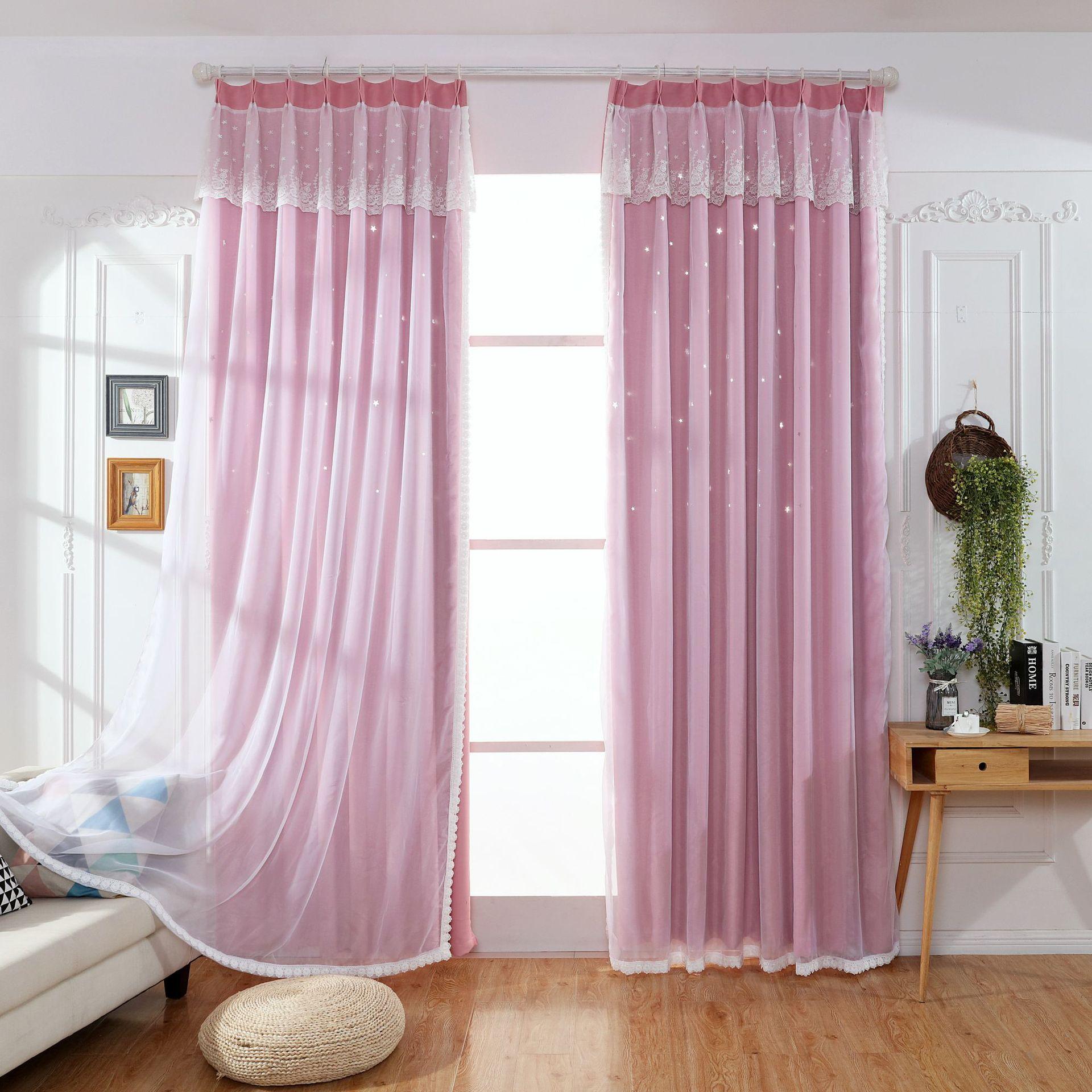 rèm cửa sổ Rèm cửa hình ngôi sao màu đỏ rỗng rung động cùng một đoạn Công chúa Hàn Quốc che nắng cao