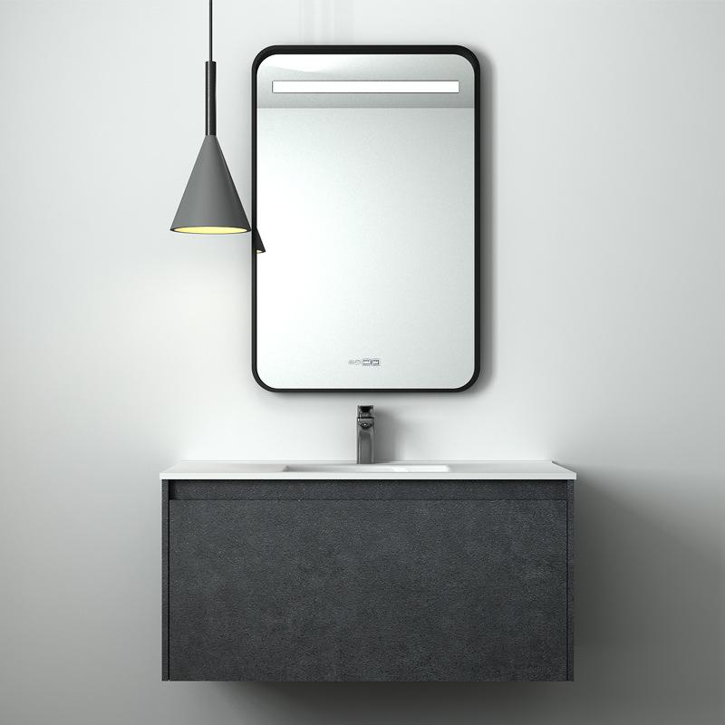 Bộ tủ phòng tắm kết hợp chậu rửa gốm treo tường thông minh .