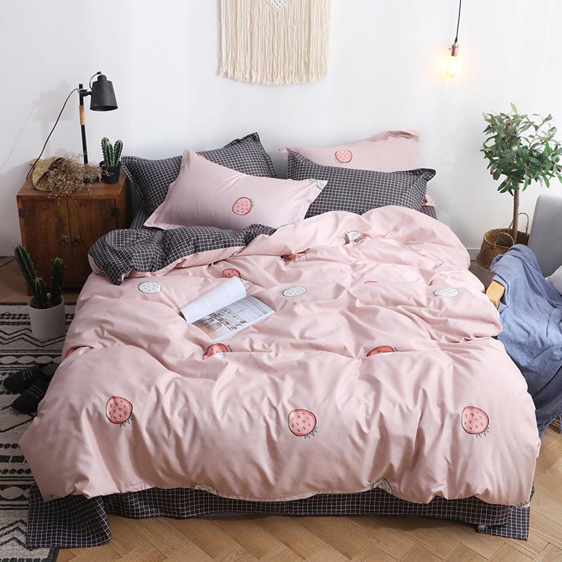 drap mền Đơn giản chà nhám in bốn mảnh căn hộ sinh viên ba mảnh giường giường lanh
