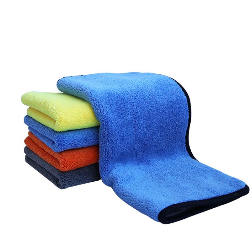 MCZB Khăn lau xe San hô nhung dày rửa xe khăn lau hai mặt hai màu đa chức năng làm sạch xe hơi làm d
