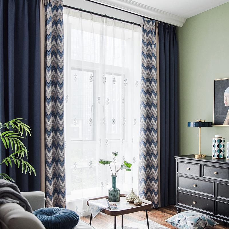 MINGDIAN rèm cửa sổ 2019 rèm cửa mới giả vải lanh liền mạch khảm màu vải đơn giản che bóng bán buôn