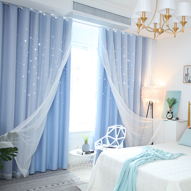 YUANHONG rèm cửa sổ Rèm cửa lưới màu đỏ Hàn Quốc phòng ngủ sao đầy đủ màn hình đôi Bắc Âu in rèm màn