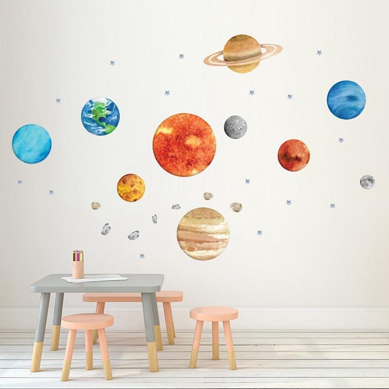 JIANGXING Decal dán tường Chín hành tinh dán tường tự dính sáng tạo phòng trẻ em hành tinh trang trí