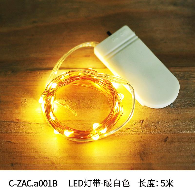 Đèn LED dây 5 mét đèn LED pin trắng ấm