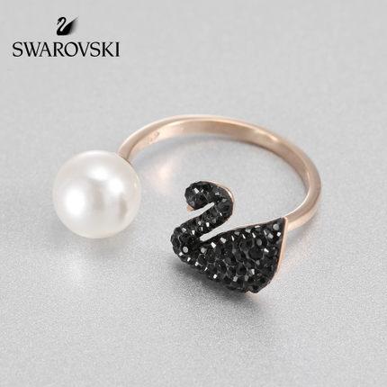 đồ trang trí trang phục Swarovski ICONIC SWAN thời trang nhẫn thiên nga đen đôi nhẫn nữ gửi quà tặng