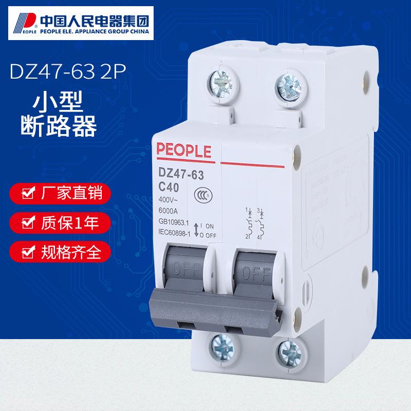 RENMIN Cầu dao ngắt điện Vỏ nhựa DZ47-63 / 2P thu nhỏ mở 32a lưỡng cực