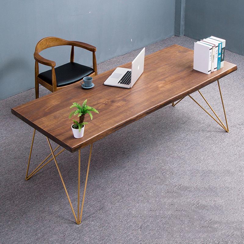 Thị trường nội thất văn phòng Đơn giản hiện đại gỗ rắn đồ nội thất sắt rèn thủ công bàn hình chữ nhậ