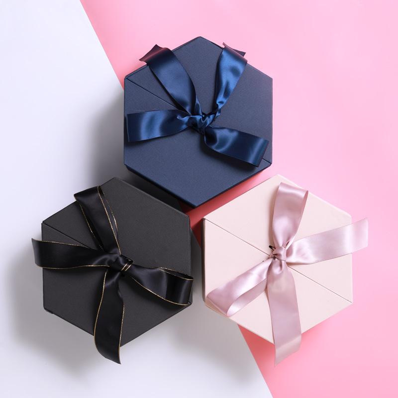 YUSHENG Hộp quà tặng hình lục giác thông thường với hộp quà tặng bằng tay phiên bản Hàn Quốc tinh tế