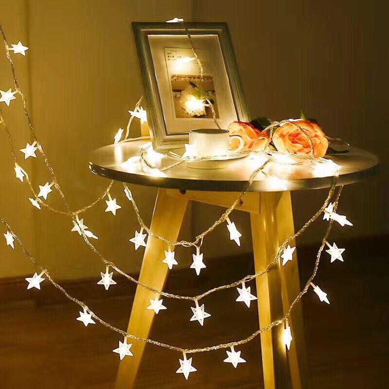 YINGLONG Đèn trang trì Led sao đèn dây pin nhỏ đèn nhấp nháy đèn đỏ chuỗi đèn Giáng sinh phòng rèm đ