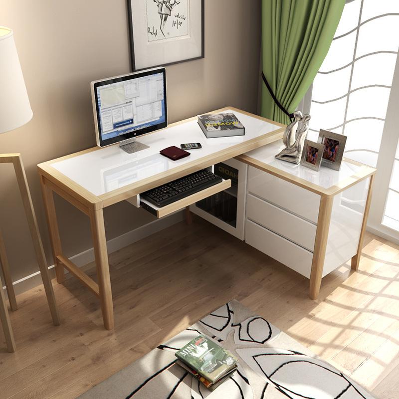 AILAIGE Thị trường nội thất văn phòng Bàn gỗ rắn Bắc Âu Sơn piano hiện đại xoay bàn máy tính học đơn