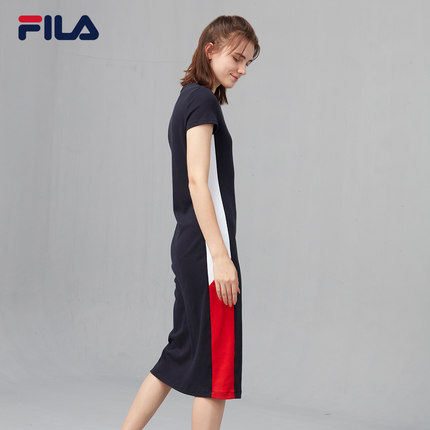 Đầm FILA Đầm dự tiệc chính thức của Fila Fila 2019 Thu mới POLO Cổ áo Đầm dệt kim Đầm maxi