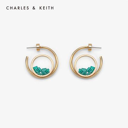 đồ trang trí trang phục  CHARLES & KEITH  Hoa tai CHARLES & KEITH CK5-41430047 chất liệu trong suốt