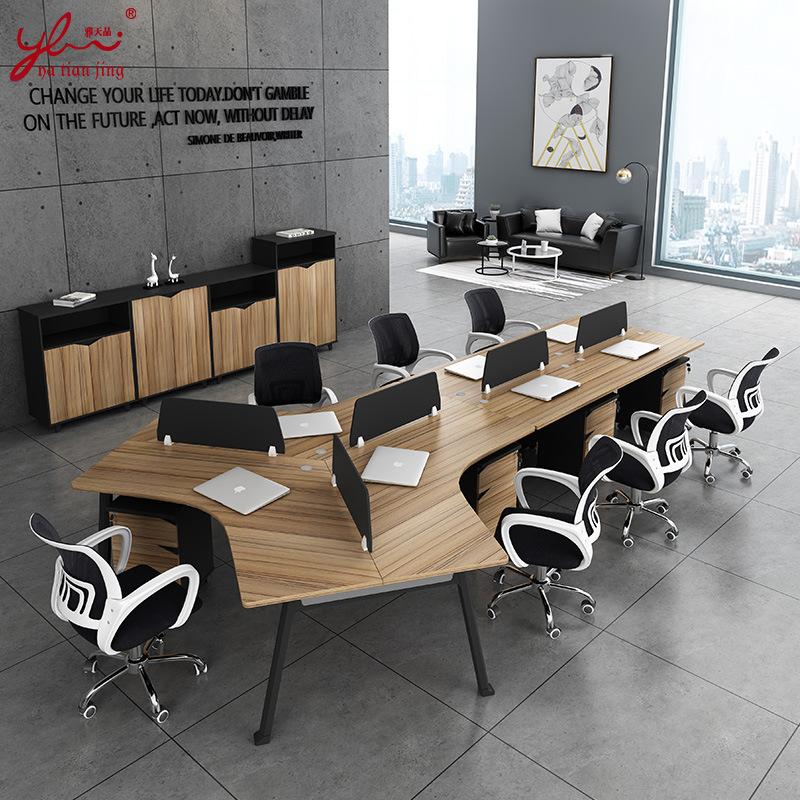 YATINAJING Thị trường nội thất văn phòng Phật Sơn 3 người hiện đại sáng tạo bàn 5 người góc tấm màn