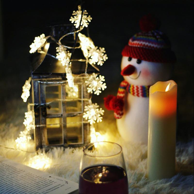 LANLU Đèn trang trì LED chuỗi bông tuyết đèn nhỏ đèn nhấp nháy trong phòng phòng ngủ lưới màu đỏ bố