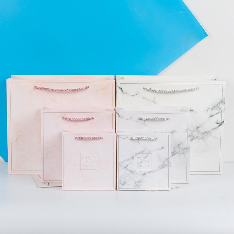 BAOBAOBAO Túi giấy đựng quà Thời trang Tiếng Anh Đá cẩm thạch Túi quà tặng Lớn vừa và nhỏ Sinh nhật