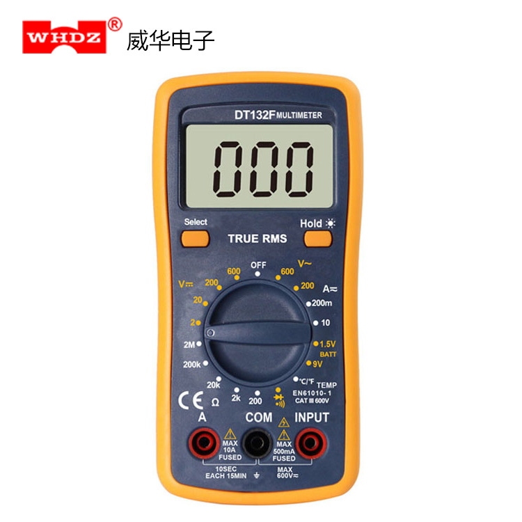 WHDZ Đồng hồ đo điện vạn năng Kỹ thuật số RMS Đo DT132F