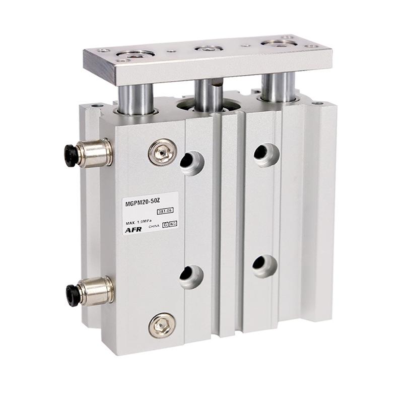 AFR Ống xilanh Khí nén ba trục mỏng ba trục với xi lanh dẫn hướng kép MGPM25-20 / 25 / 30Z / 40/50/7