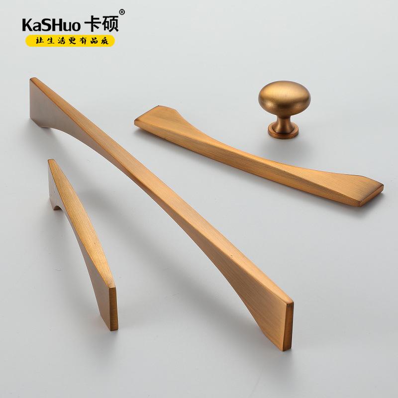 Kashuo Thị trường ngũ kim Bắc Âu tủ ngăn kéo cửa tủ màu vàng đồng lỗ đơn xử lý hiện đại tối giản đồ