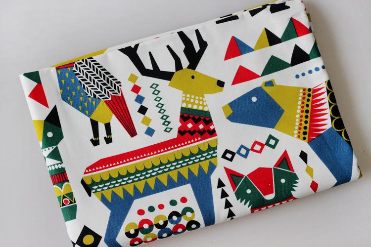 Vải Cotton pha Trẻ em Nhật Bản và Hàn Quốc hình học hoạt hình động vật bông và vải lanh pha trộn Elk