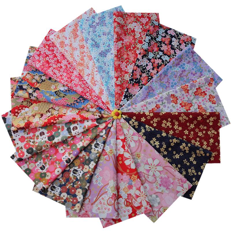 QIAOMA Vải Chiffon & Printing Vườn hoa Nhật Bản mạ vàng DIY chắp vá và vải cotton sơn vàng