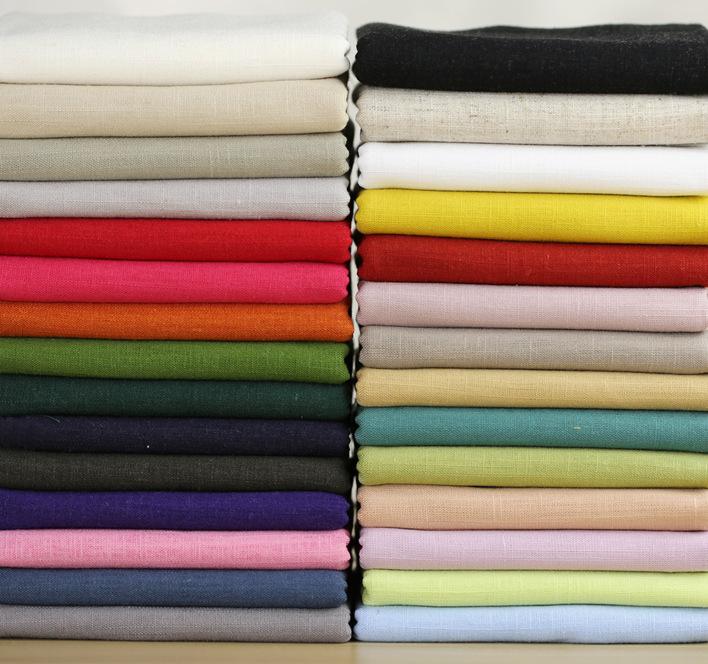 Vải Linen Màu trơn đồng bằng màu lanh / vải bông tre / vải quần áo / vải nền trang trí