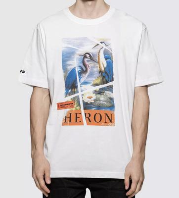 Áo thun mau khô 19SS HERON PERSTON Kiểu dáng cần cẩu Lotus In kỹ thuật số ngắn tay áo thun cotton