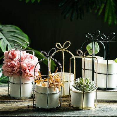 LUYUE Bình bông Bình hoa rèn bằng sắt rèn đơn giản Bình hoa Bắc Âu khung sắt hoa đứng gốm hoa thủy c