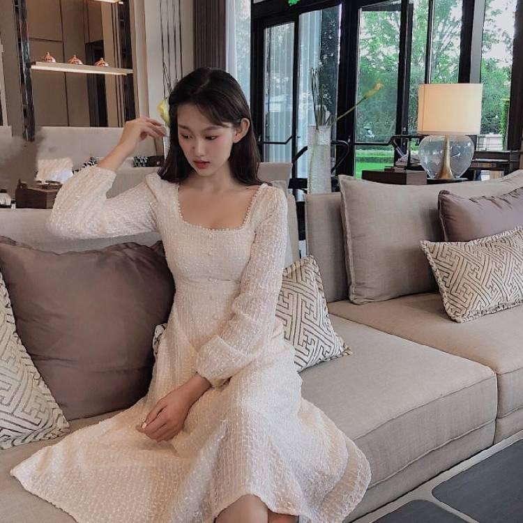 ZHUOBEIMEI Quần Nước hoa nhỏ Pháp dài tay thời trang eo nữ đã mỏng đầu thu và đầu thu mới váy dài ph