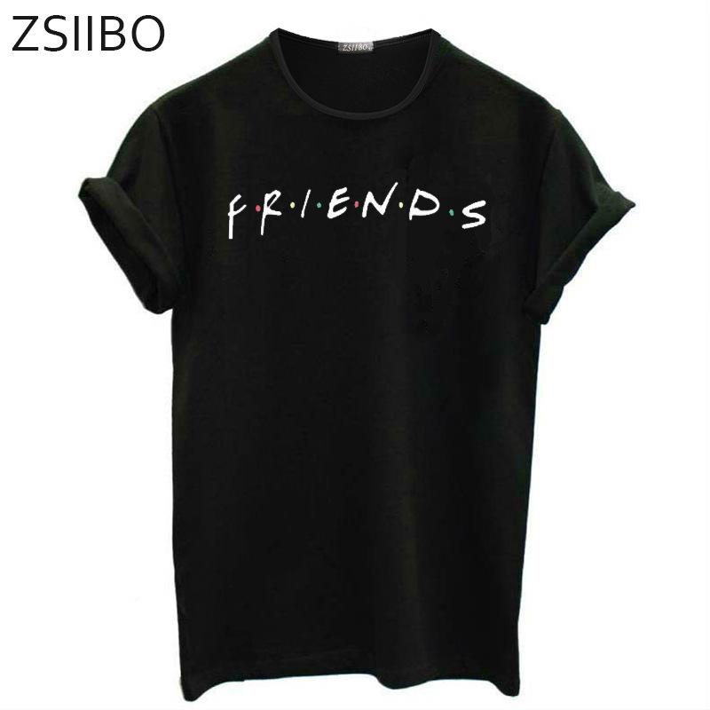 ZSIIBO Áo thun 2019 chúc áo thun ngắn tay bùng nổ Friends Letter Áo thun nam nữ in size lớn châu Âu