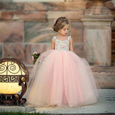 Áo choàng trẻ em Ins mô hình mùa hè chúa mới chiếc váy cô gái hoa rò rỉ vai đầm đầm cưới gạc tutu vá