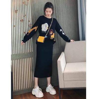 Đồ Suits Bộ đồ dệt kim nữ 2019 đầu thu mới Áo len dáng xòe Hàn Quốc đầu thu đông thướt tha thời tran