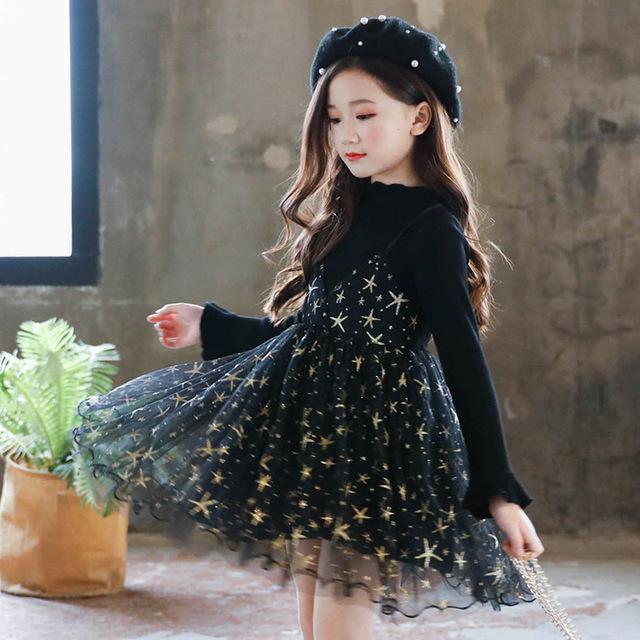 Mom look Đầm Túi tóc giúp bé gái mặc váy mùa thu 2019 mới cho bé phiên bản Hàn Quốc của váy công chú