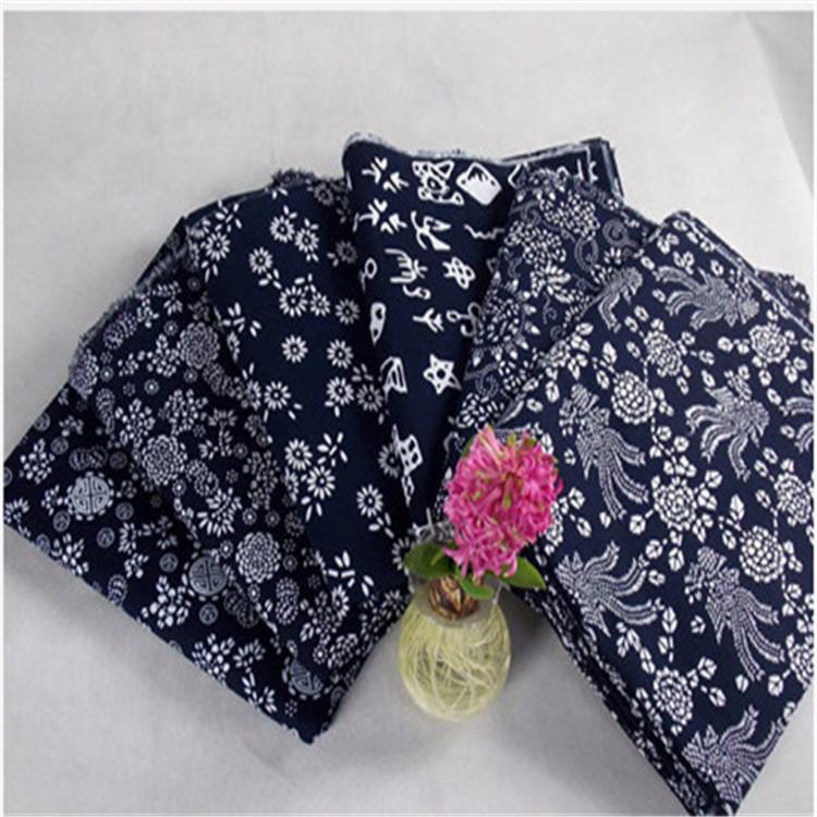 QIUSU Vải Chiffon & Printing Chất liệu cotton dày giả vải batik Cổ điển in màu xanh da trời Khách sạ