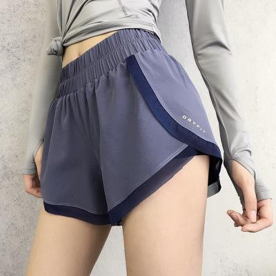 Quần áo mau khô Quần short thể thao chống nhẹ nữ rộng chân nhanh khô nhanh eo cao chạy quần short th