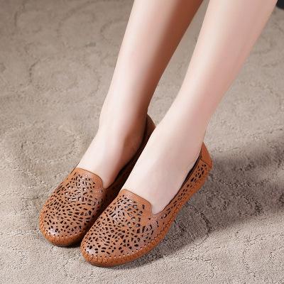 Thị trường giày nữ Mùa xuân và mùa thu rỗng giày của phụ nữ da retro đáy phẳng phụ nữ làm bằng tay m