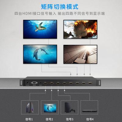 Ma trận HDMI 4 trong 4 công tắc 3D 1080P với phần mở rộng hồng ngoại IR