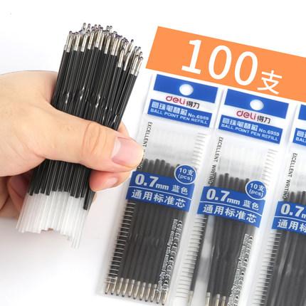 Deli Bút bi 100 Gói Nạp tiền cho nhà cung cấp dịch vụ nạp đạn bi 0,7mm Nạp đầy bút bi Bút màu xanh 6