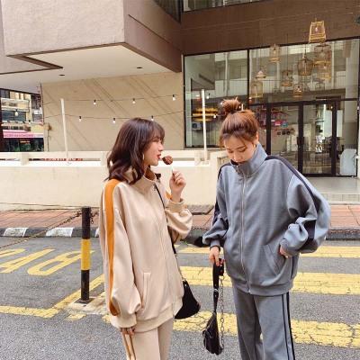 Đồ Suits Bộ đồ thể thao nữ xuân hè 2019 mới cho phụ nữ Hàn Quốc áo len giản dị đầu xuân set đồ hai d