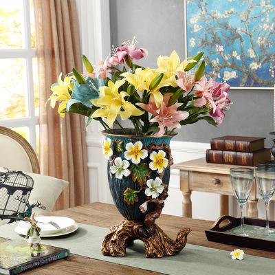 JINHUANGYA Bình bông Bình lớn châu Âu gốm thủ công đan hoa thủ công sáng tạo trang trí nhà khách sạn