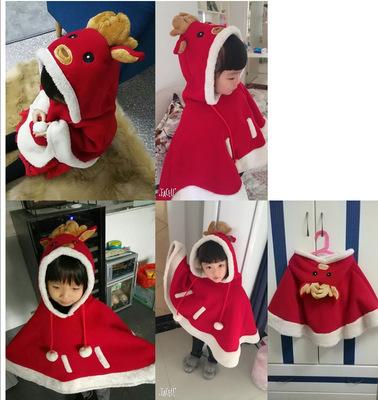 Áo choàng trẻ em Giáng sinh quần áo trẻ em khăn choàng rồng sừng hươu áo choàng bé trai và bé gái Qu