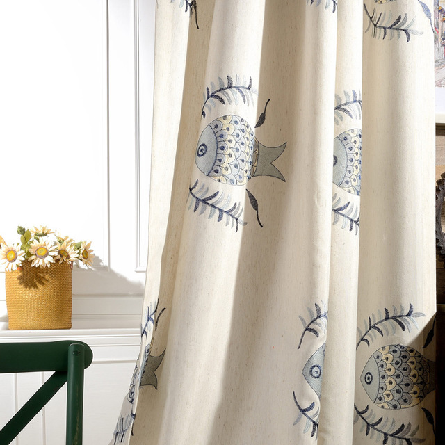 QIANHUANG Vải rèm cửa [Cá và câu cá] nhà máy trực tiếp rèm vải cotton và vải lanh thêu phòng ngủ phò