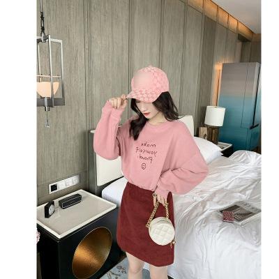 Đồ Suits Màu đỏ lưới với đoạn 2019 mùa thu phiên bản mới của Hàn Quốc in chữ áo len liền thân màu vá