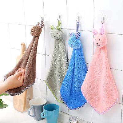 RONGLIN khăn lau tay 1485 chú thỏ dày dễ thương có thể được sử dụng khăn nhung thấm nước khăn lau ta