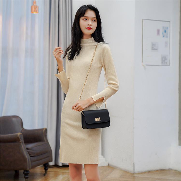 ZHONGYIMAN Đầm Mùa thu đông 2019 dài thon dài đầm dệt kim mới của phụ nữ đáy áo sơ mi nửa cổ áo len